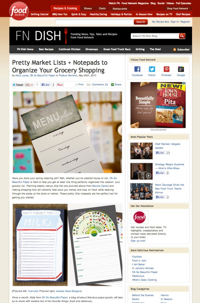 Jessica Haas Designs Seasonal Grocery & Menu Notepads on Food Network