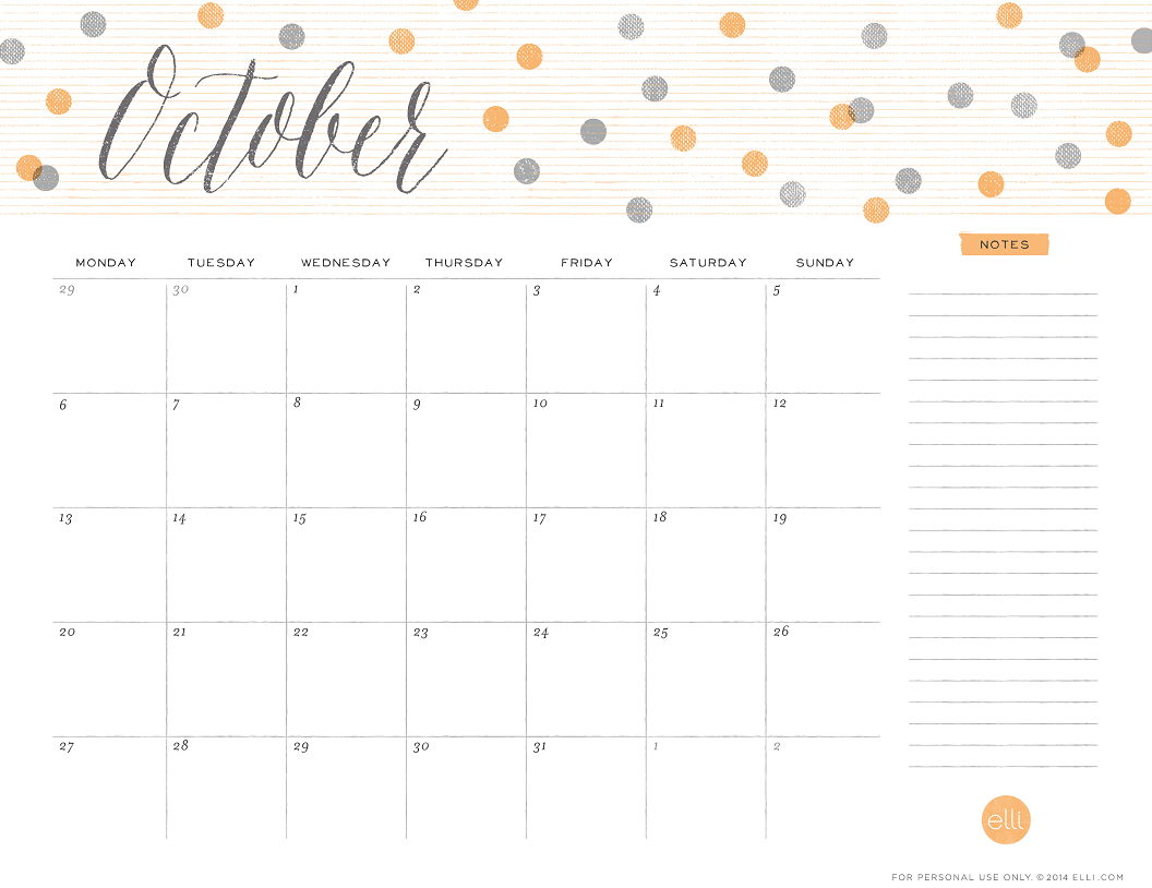cute october 2014 calendar dots
