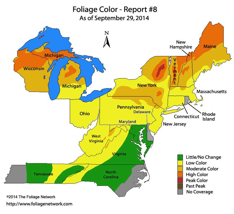 Autumn Foliage Report  Northeast Region September 29th