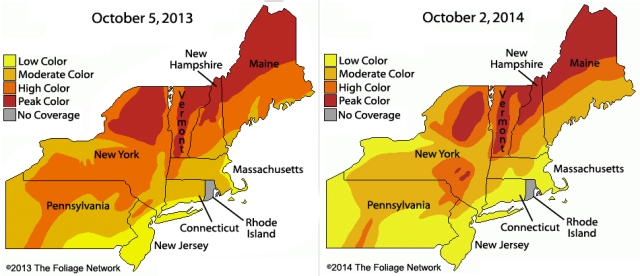 Northeast compare fall leave change 2013 and 2014