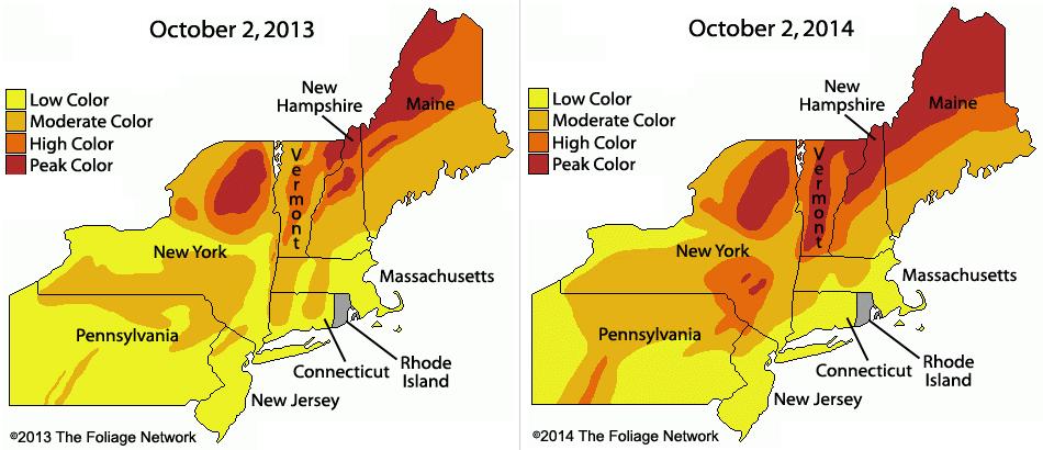 Fall Foliage Compare 2013 and 2014