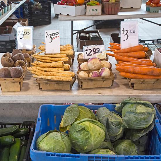 Detroit, Michigan - Vegetables on sale at Eastern Market, a large farmers market near downtown Detroit.
