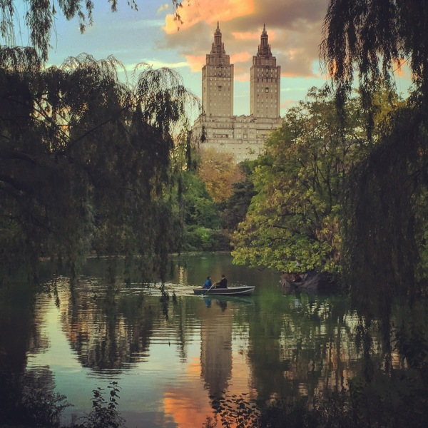 New York Art Director, Jessica Haas captures Central Park row boating couple with San Remo building