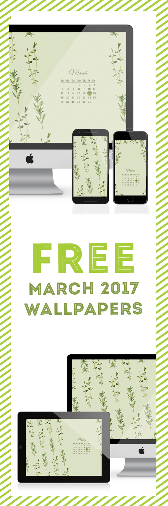 Jessica Haas Designs Free March Calendar and Herb Wallpapers