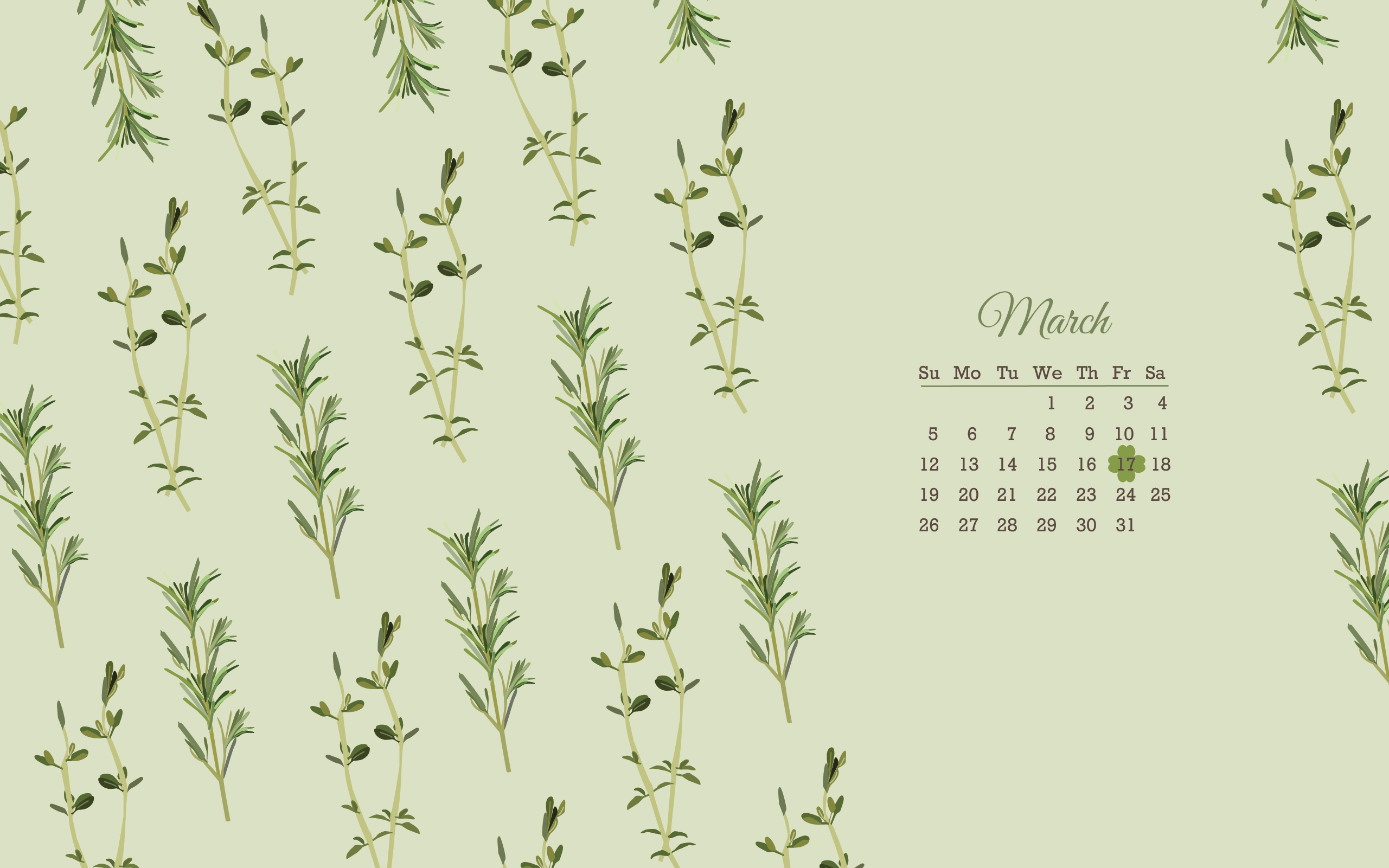 Free March 2017 Herb Wallpapers