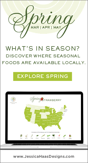 Jessica Haas Designs - What's In Season. A collection of seasonal fruit and vegetable favorites for spring and where to find them locally.